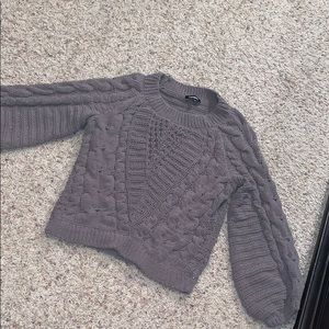 Express cable knit balloon sleeve sweater